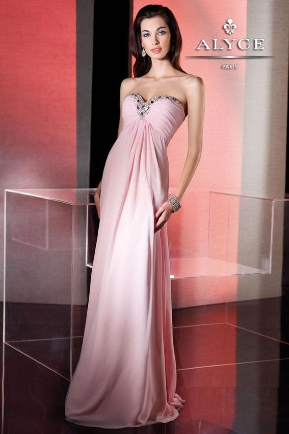 Long pink empire chiffon has sweetheart bodice. Prom, pageant and special occasion. Fabric: Chiffon