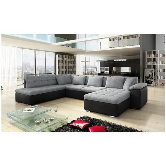 soldes meubles canapes cdiscount canap angle u alta 2 gris noir en vue panoramique ce canap dangle trs styl et classe ravivera votre salon - Canape U