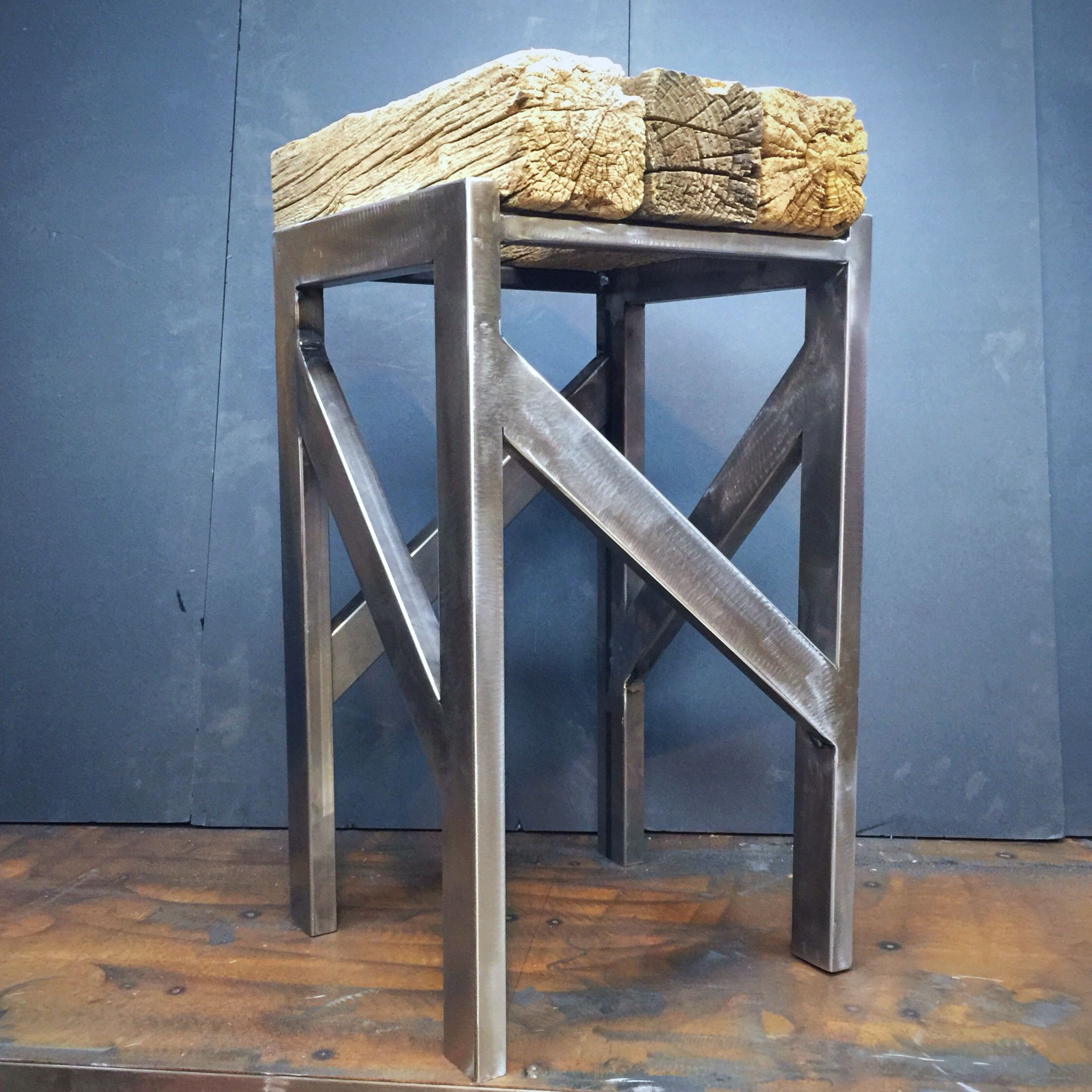 Steel and reclaimed Barnwood beams make a barstool. www ...