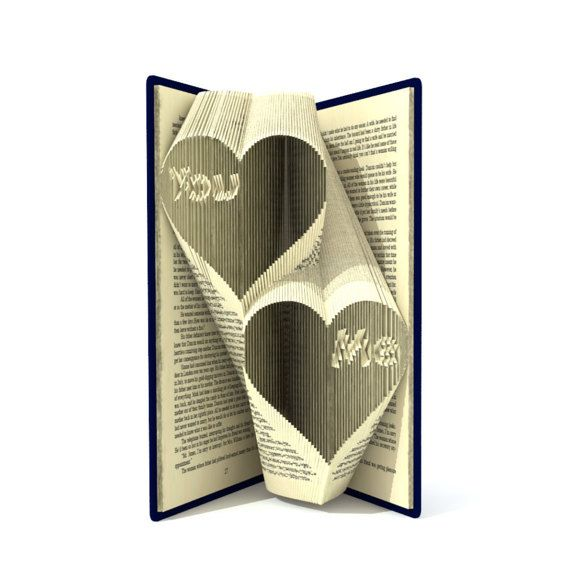 The book folding pattern allows the folder to create this unique You Me in hearts pattern to be in the book. All my book patterns are measure and mark patterns in mm.  Its very simple to create. The end result is so impressive to look at as well as looks great in any place of your house.  For this pattern you need a hardback book of 20 cm+ tall ,358+ pages.  What you get: 1) instruction + free heart pattern(45 folds) to practice ; 2) pattern for 179 folds   The pattern will be download…