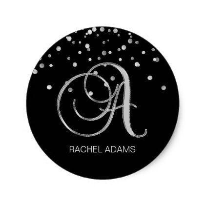 Classy professional business monogram silver black classic round sticker