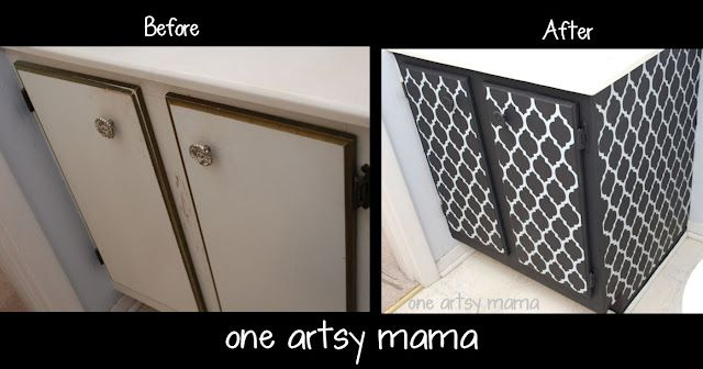 KITCHEN & VANITY CABINET UPGRADES: STENCILED PATTERN