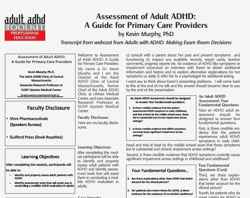 Assessment adult adhd