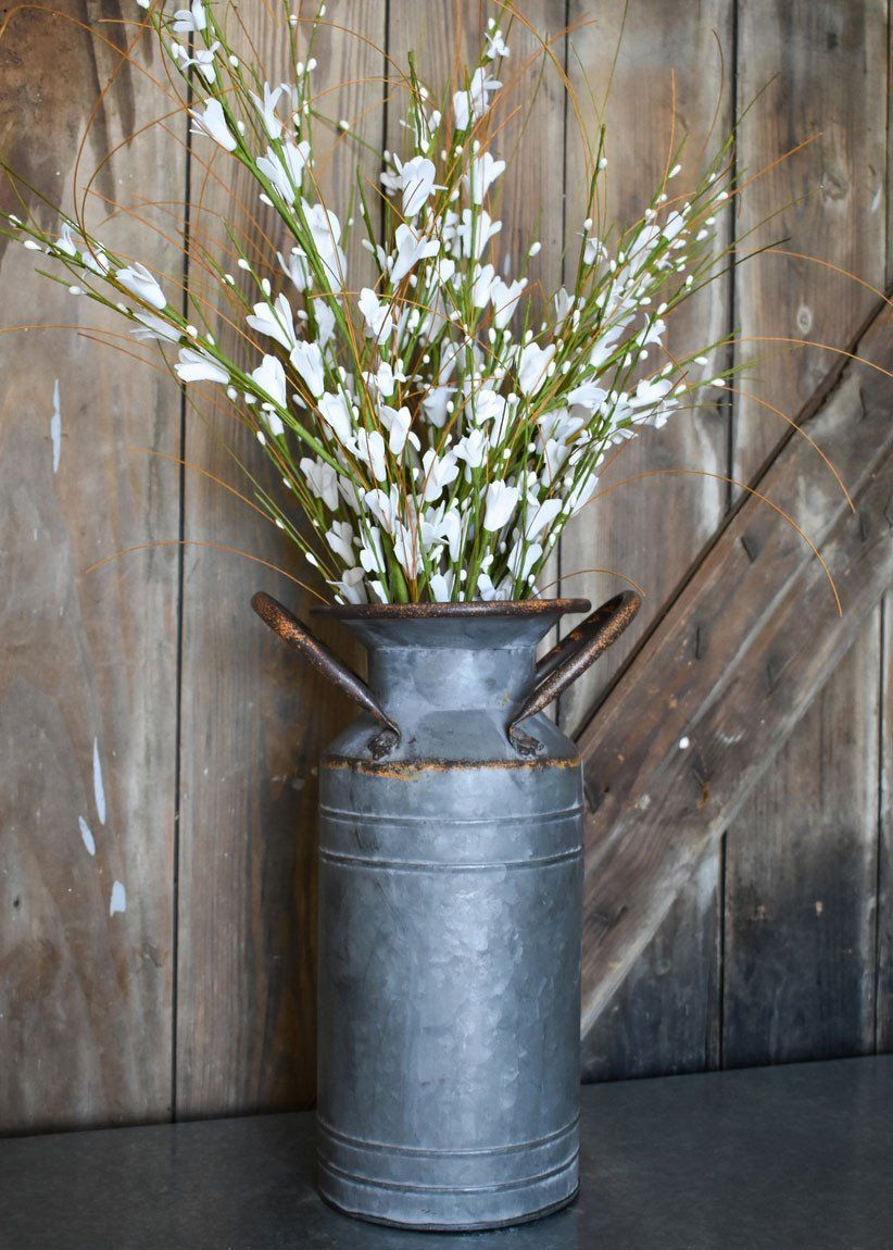 Galvanized Country Metal Milk Can Floral Container 13 25