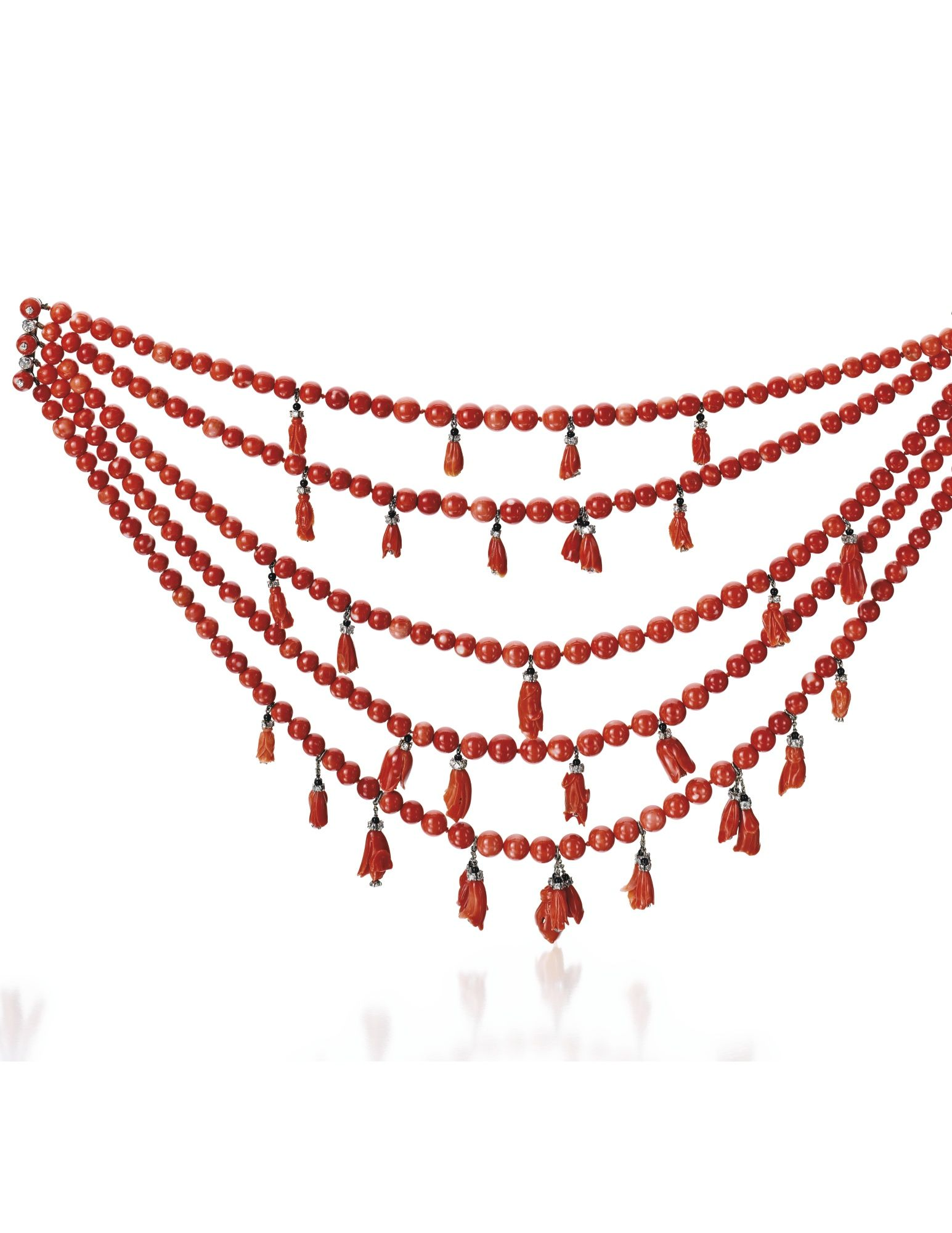 Sotheby´s - Platinum, 18 Karat White Gold, Coral, Onyx and Diamond 'Wilting Hibiscus' Necklace, Designed by Suzanne Belperron, 1932-1940; Estimate: 50,000 - 75,000 USD; LOT SOLD. 278,500 USD; The five-strand necklace composed of 258 coral beads measuring approximately 11.4 to 7.8 mm, suspending 35 carved coral hibiscus blossoms, the interior of each flowerhead set with a diamond and suspended by diamond-set rondelles and onyx beads, set throughout with 16.25 carats of diamonds, length 14…
