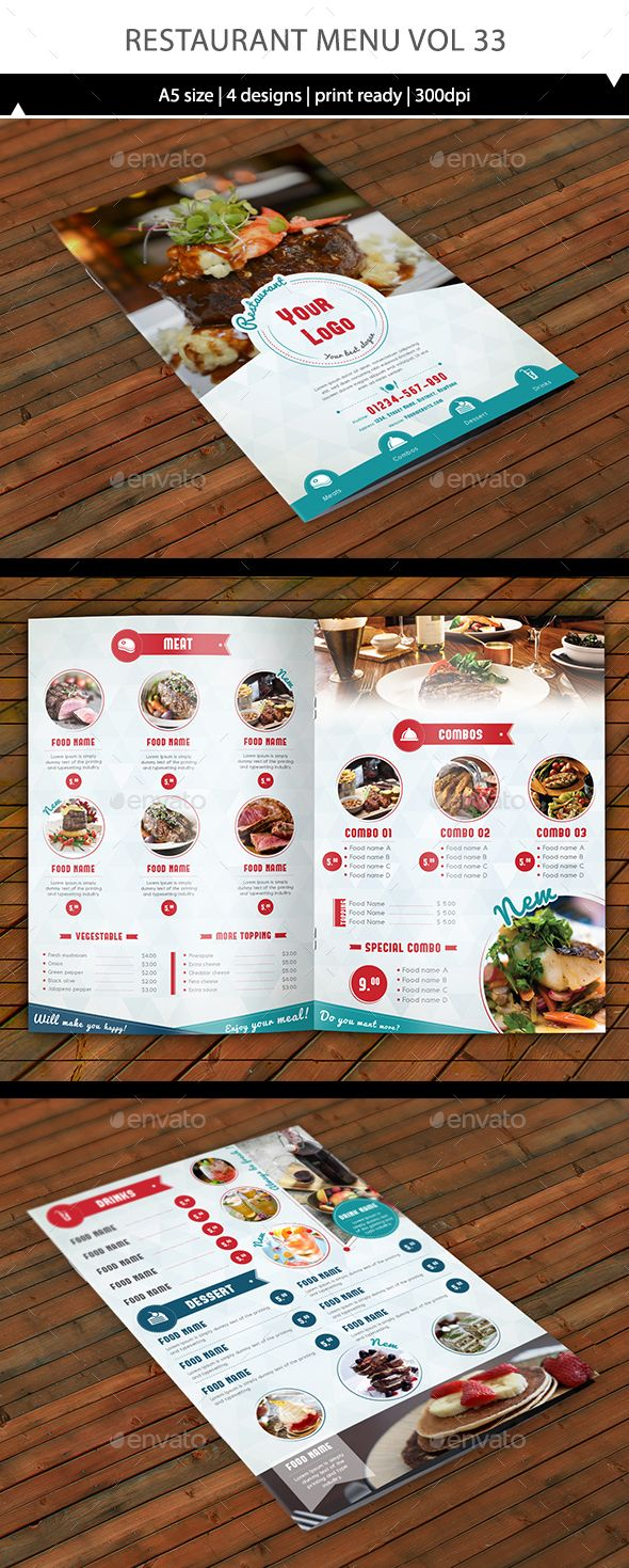 Very Clean Restaurant A5 Design 4 Page For Menu Template Size The All Have 4mm Bleed So It Ready To Print Adob