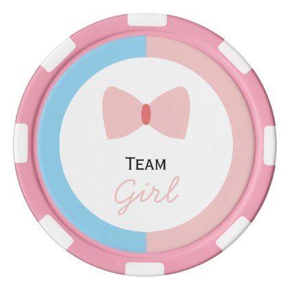 #shower - #Blue Pink Polka Dot Gender Reveal Bow and Bow Tie Poker Chips Set