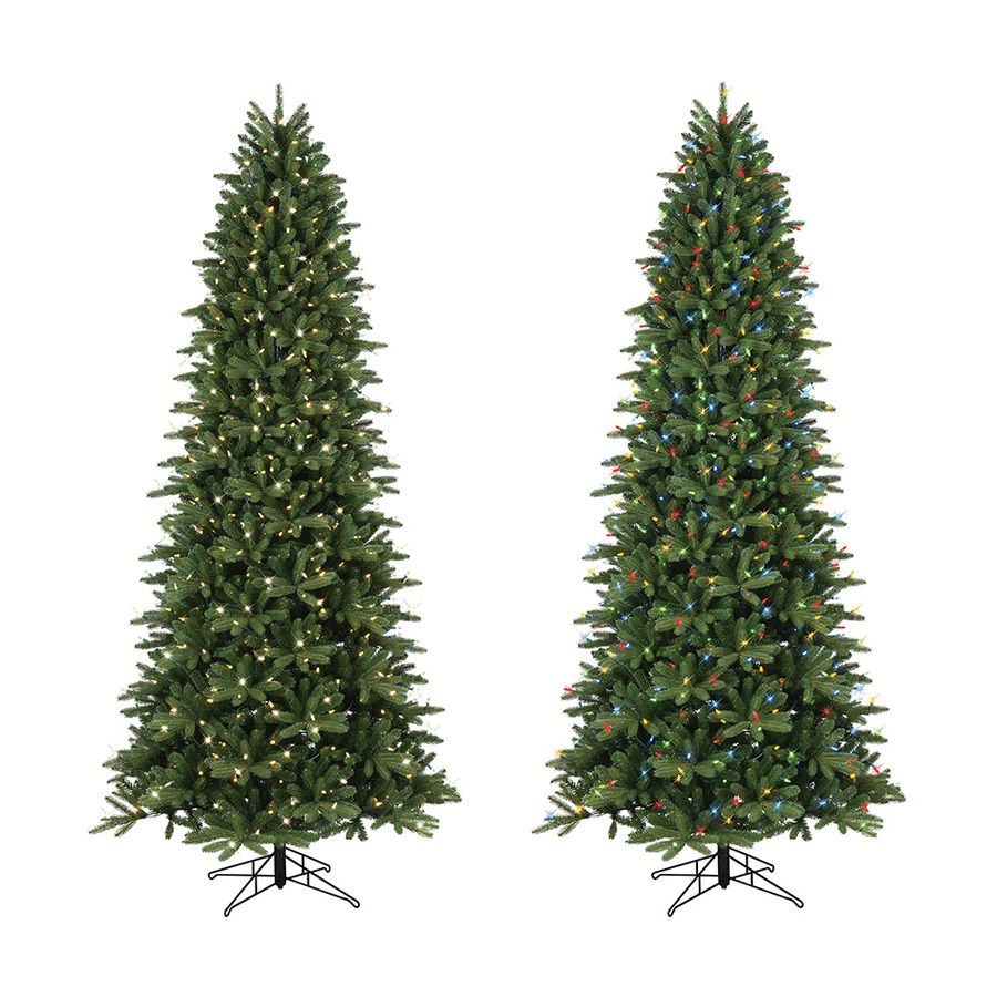 GE 9-ft Pre-Lit Frasier Fir Slim Artificial Christmas Tree with ...