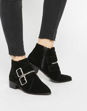 b7d10ca813e ASOS ANGIE Double Buckle Ankle Boots at asos.com