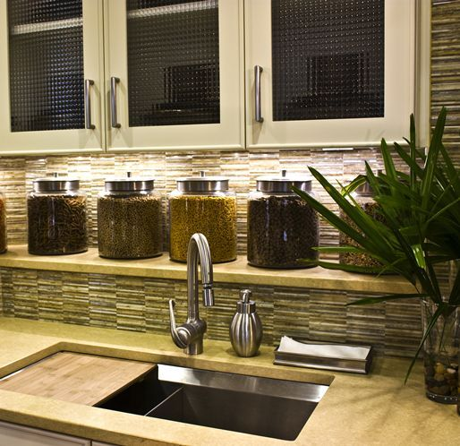 A Kitchen Counter Ledge Adds Extra Storage Space And Architectural Interest.