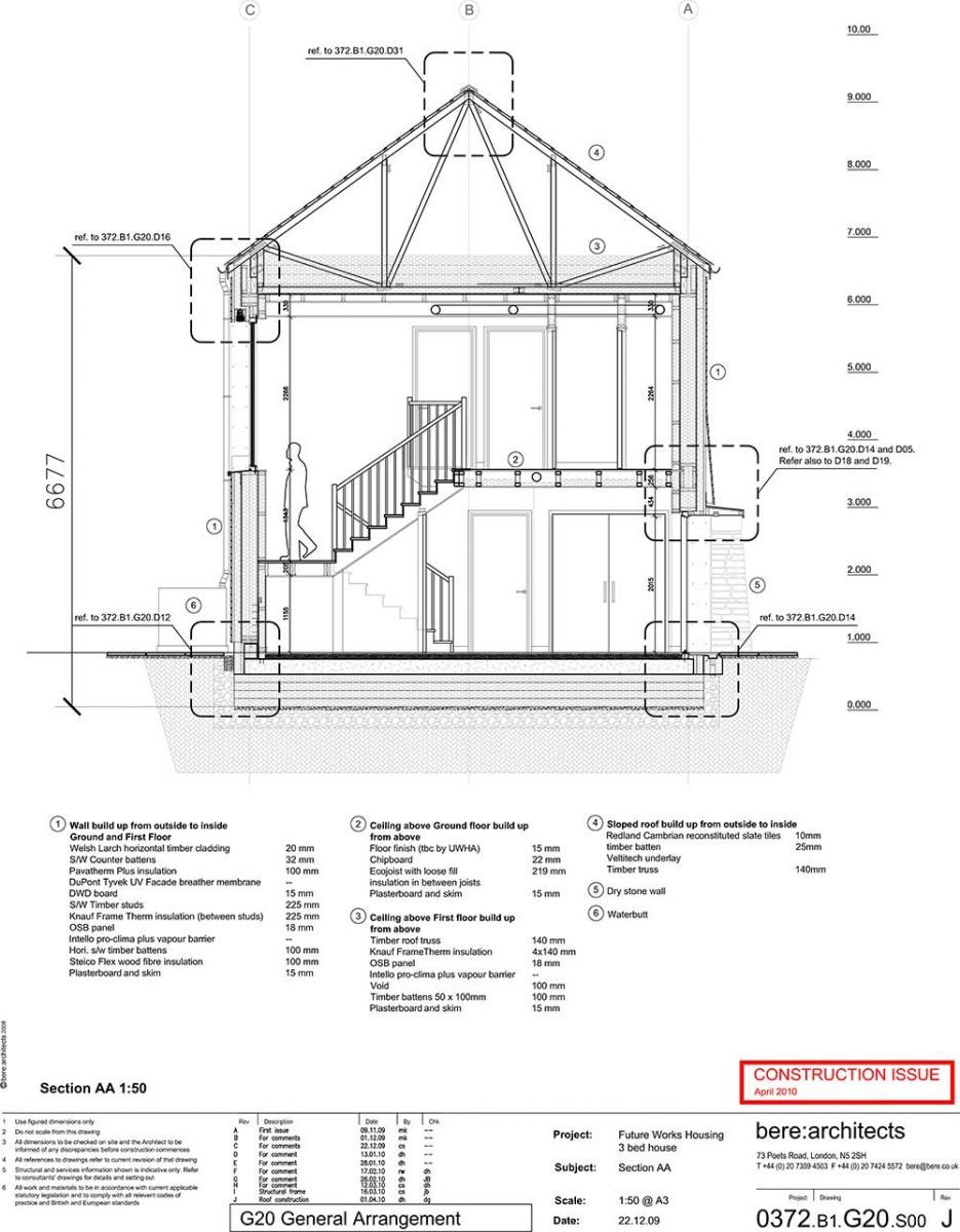 GreenSpec case study: The Larch House: Working drawings