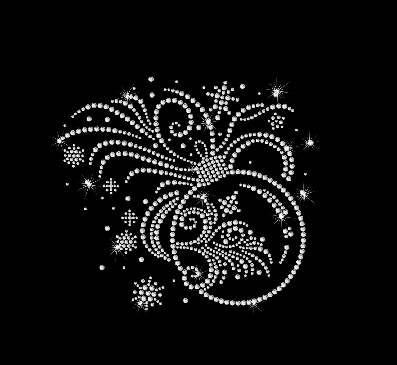 Ornament Scroll Sprays Iron on HotFix Rhinestone Bling Holiday Heat ...