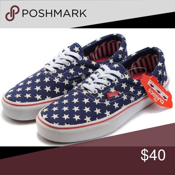 b528d1034a1 Vans Authentic American Flag Vans Authentic American Flag Blue Canvas White  Stars Skate Shoes