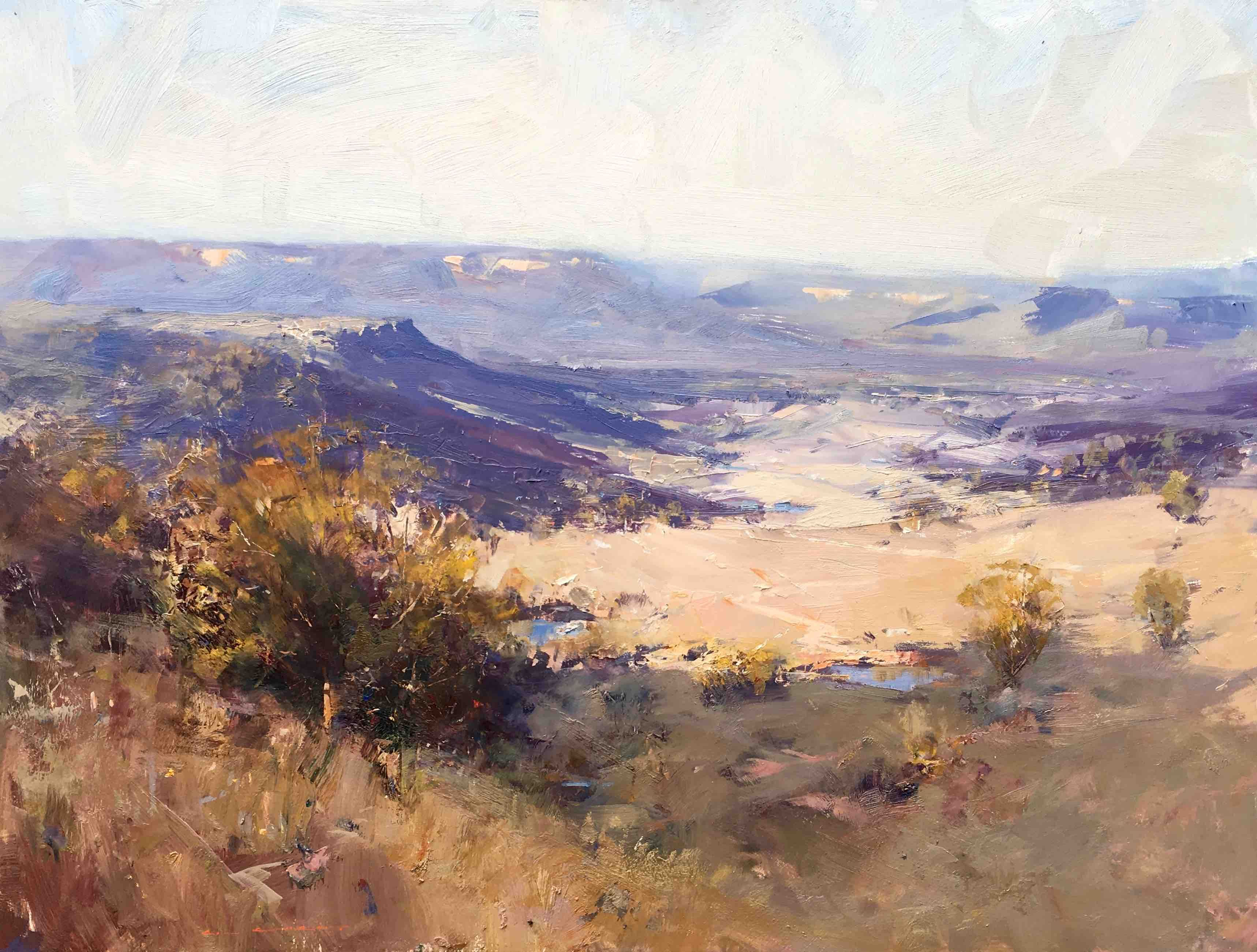""" Sweeping Megalong Valley"" 11 X 102 Cm Ken Knight Works - Day Fine Art"
