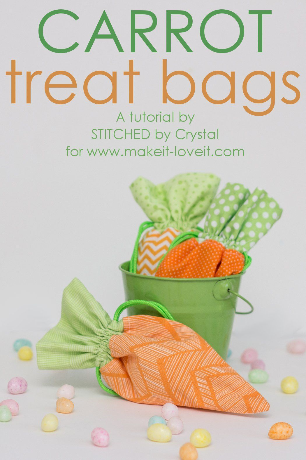 A tutorial to make a carrot treat bag that can be filled with candy for Easter.