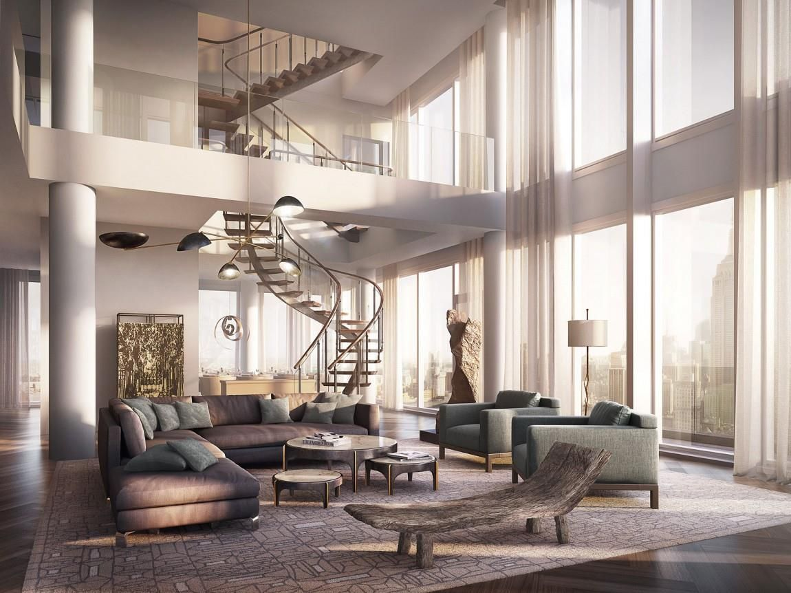 ... 25 Million One Madison Triplex Penthouse With Very Tall Ceiling Design  Ideas That Consist Of 1 Base Floor For Luxury Sunny Living Room And Luxury  Spiral ...