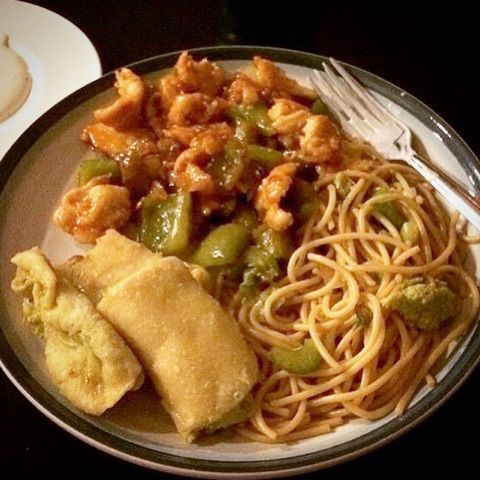 My Take Sweet Sour Chicken W Chow Mien And Egg Roles Sweet