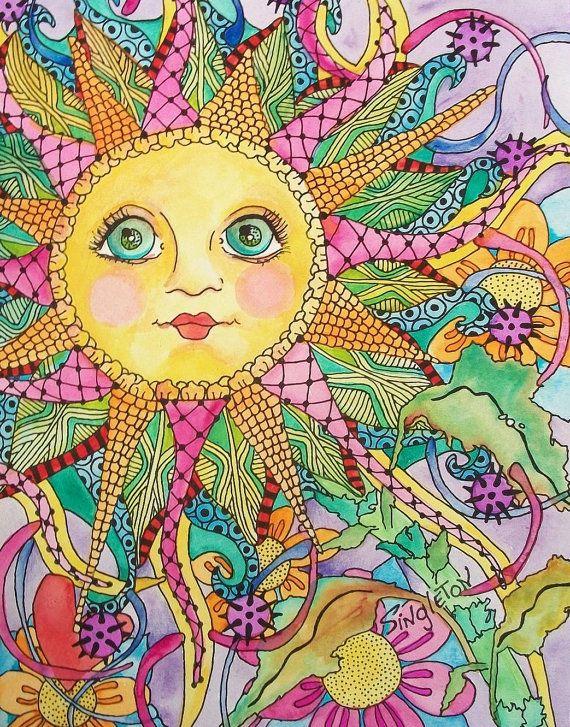 Midnight in My Psychedelic Garden, Singleton Hippie art ...