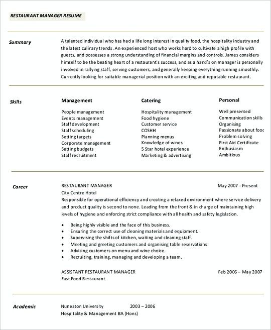 Restaurant Manager resume template Sample , Professional Manager - resume template for hospitality