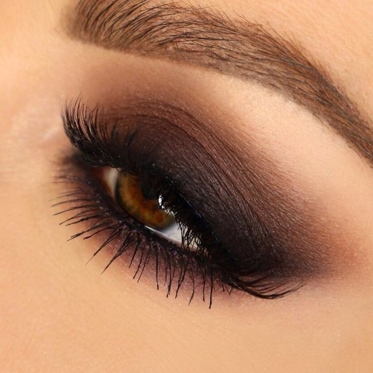 Photo of dark brown smoky eye with dirty black winged liner (Jen …