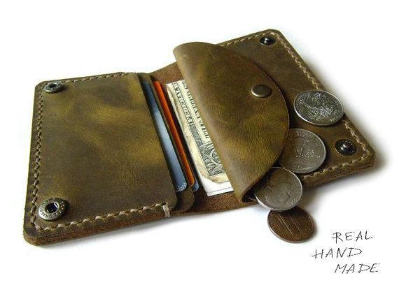 Handmade Leather Wallet - distressed leather wallet - green brown ...