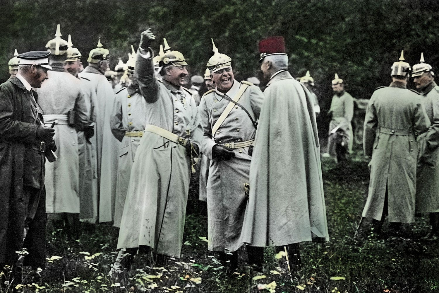 Kaiser Wilhelm Ii With Count Furstenberg And The Austrian Military