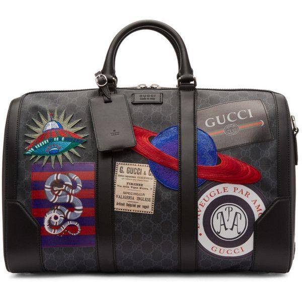 121a3fe2a3af Gucci Black GG Supreme Patches Duffle Bag ( 3