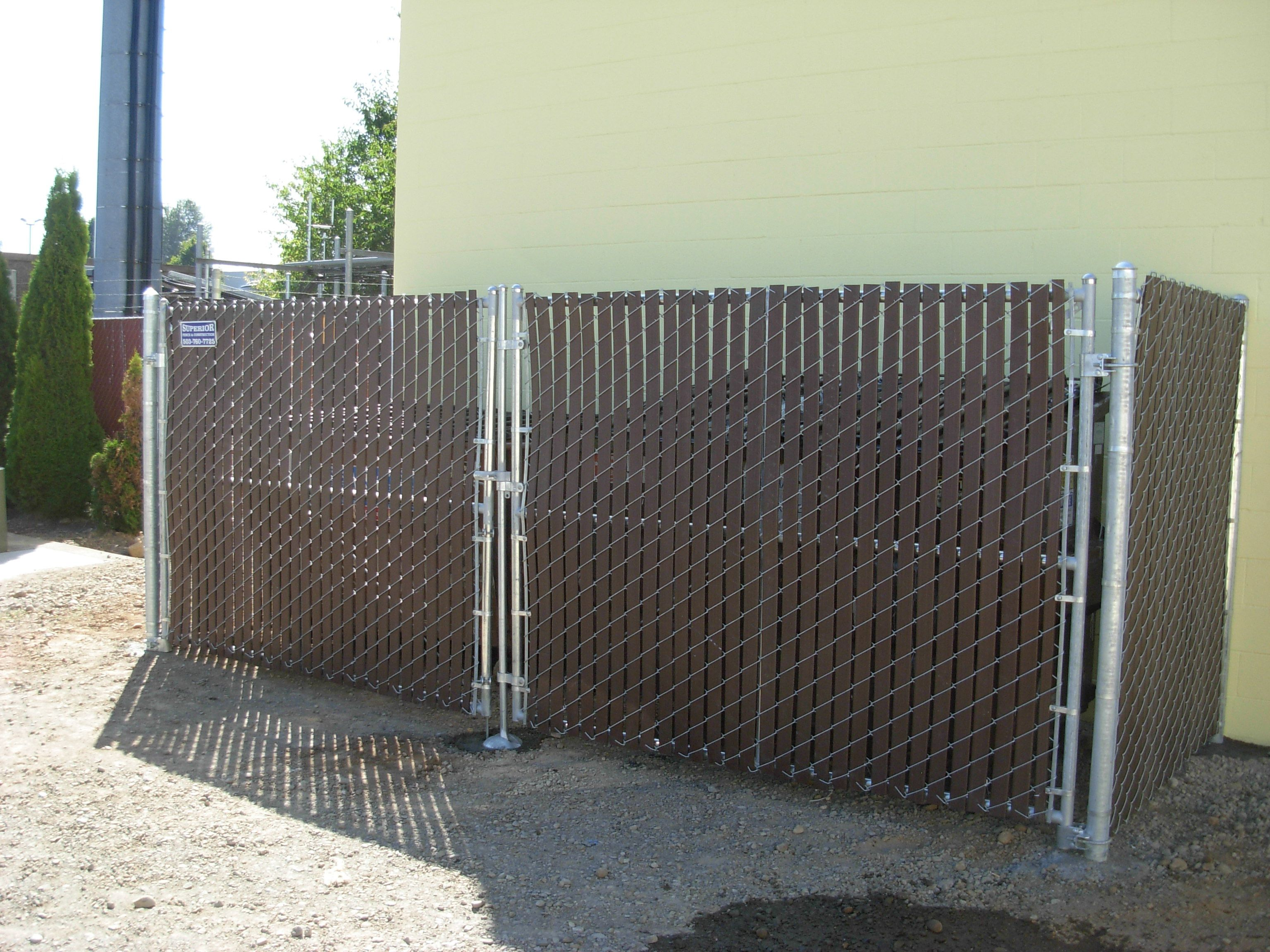 Chain Link With Brown Slats Garbage Enclosure Fence Contractor Wood Fence Chain Link