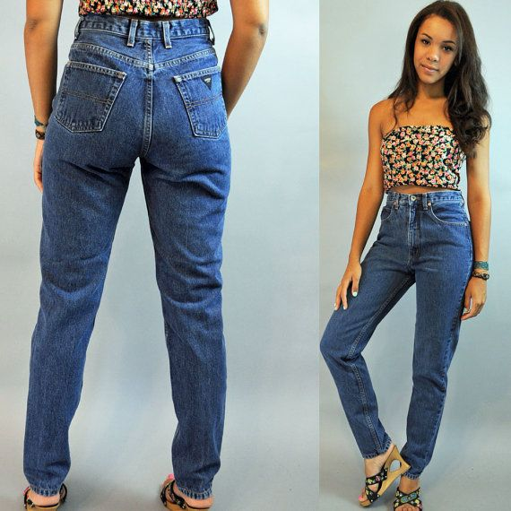 80s High Waisted Jeans / Womens Vintage Guess Jeans Distressed ...