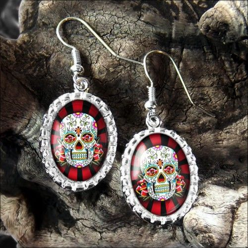 Red &  Black Day of the Dead Muertos Skull Rays Platinum Silver Earrings 135-OEP