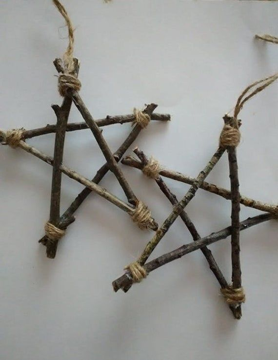 2 pack twig star, pagan witchcraft home decor, wall decor hanging, natural wood star, Christmas star, ornament, primitive star