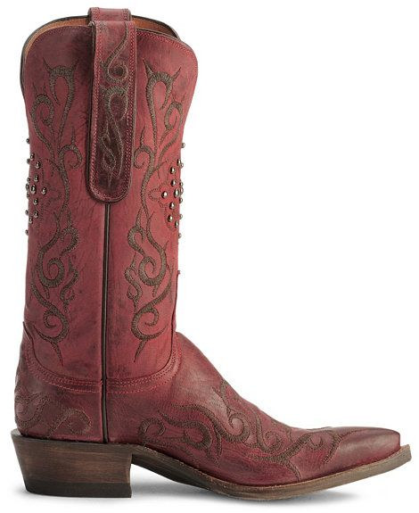Lucchese Boots - 1883 Burnished Red Mad Dog Goat Skin Cowgirl Boot - Snip Toe.  I'm in love!