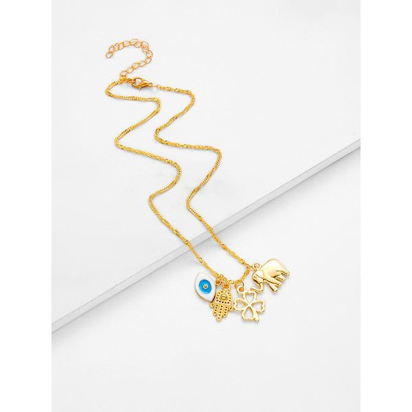 Sheinsheinside clover elephant pendant link necklace 4 sheinsheinside clover elephant pendant link necklace 4 liked on polyvore featuring jewelry necklaces gold gold elephant necklace gold elephant aloadofball Choice Image