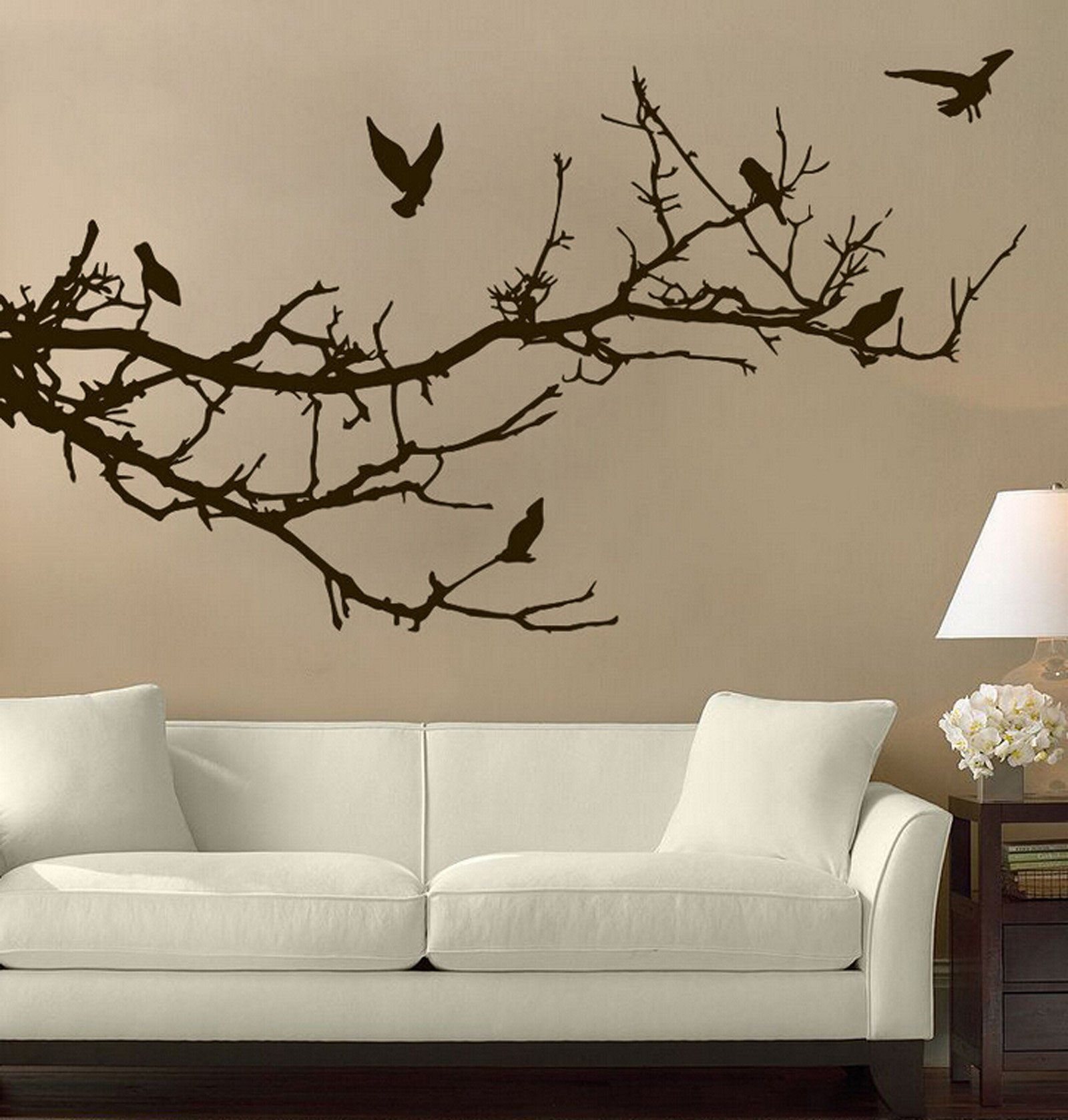 large animal tree branches birds wall decal stickers the on wall stickers for living room id=86063