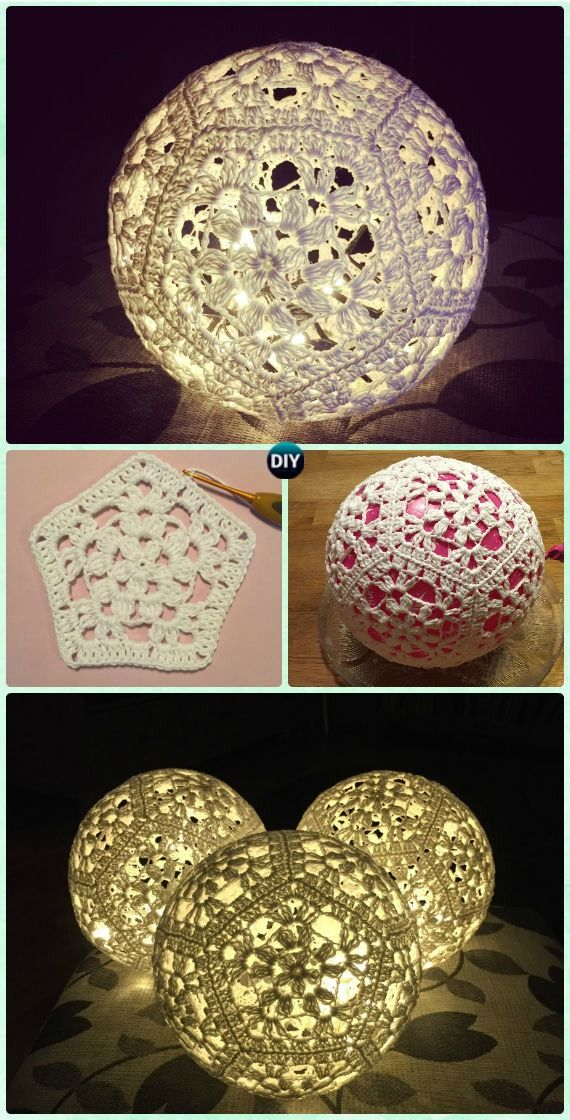 Crochet Light Ball Lamp Shade Free Pattern Crochet Lamp Shade Free