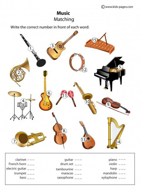 Instruments - Matching worksheets http://www.kids-pages.com ...