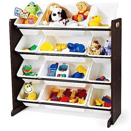 Humble Crew Espresso Kids Toy Storage Organizer With 12 White Plastic Storage Bins Walmart Com Toy Storage Organization Toy Storage Boxes Kids Room Accessories
