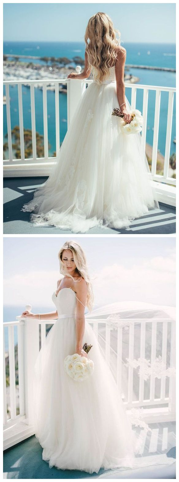 Spaghetti strap sweetheart neck ivory tulle beach wedding dresses