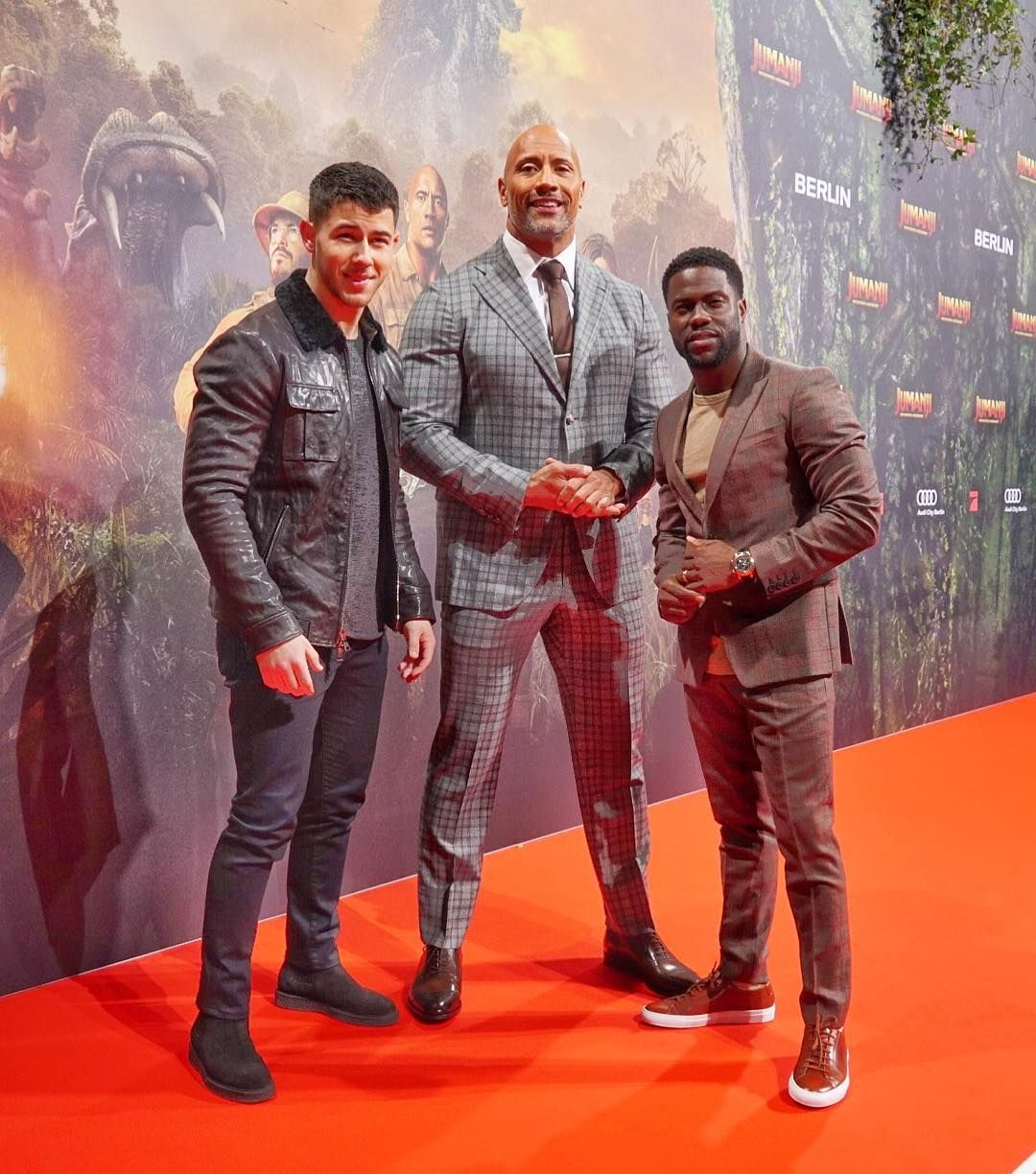 Nick Jonas Dwayne Johnson And Kevin Hart Attend The