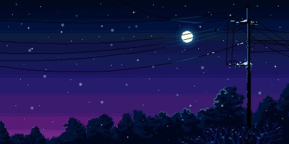 Pixel Art Night Sky By Jackonumb3rs Pixel Art Landscape Aesthetic Desktop Wallpaper Desktop Wallpaper Art