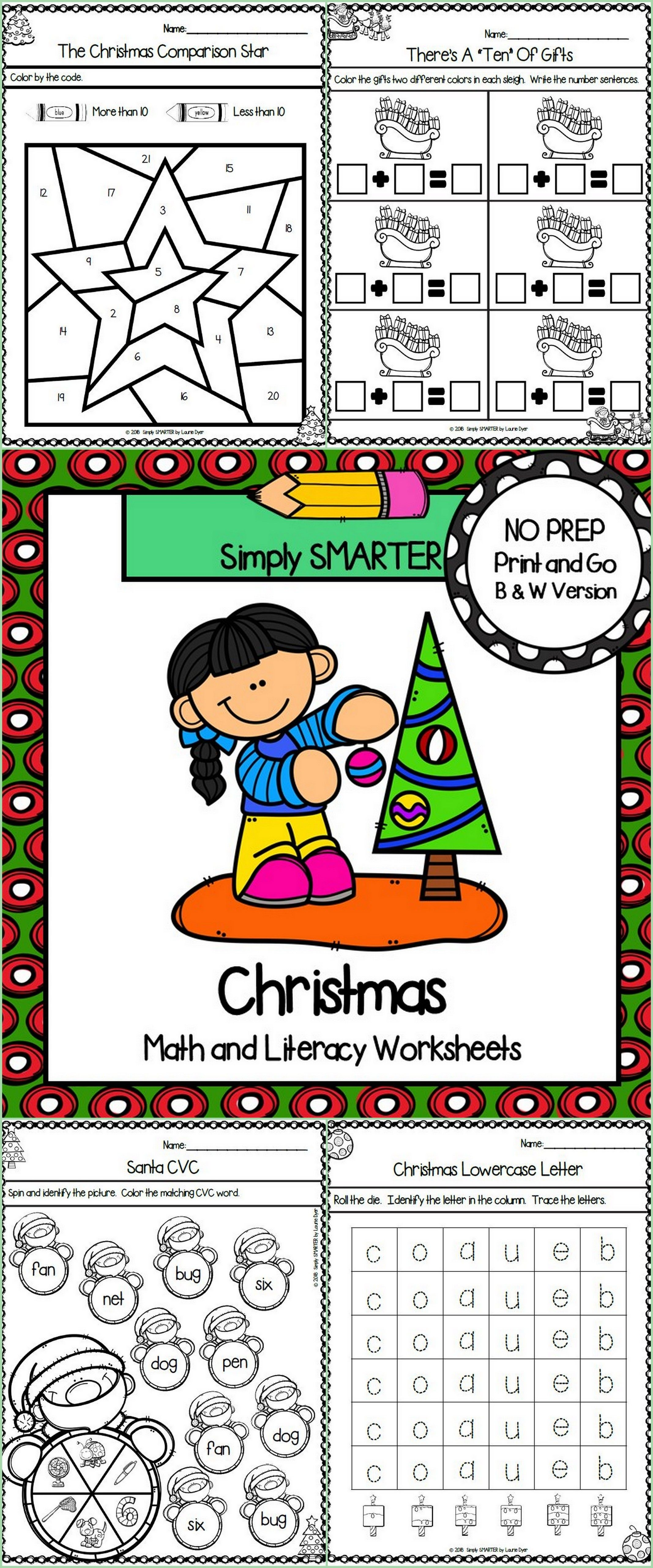 Christmas Themed Kindergarten Math And Literacy Worksheets