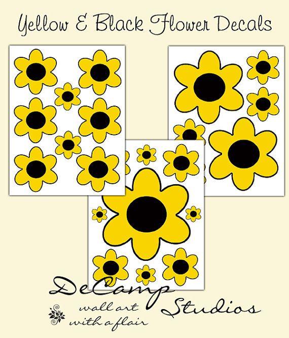 SUNFLOWER FLOWER DECALS Wall Art Baby Girl Yellow Floral Garden ...