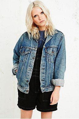Veste longue en jean levis femme