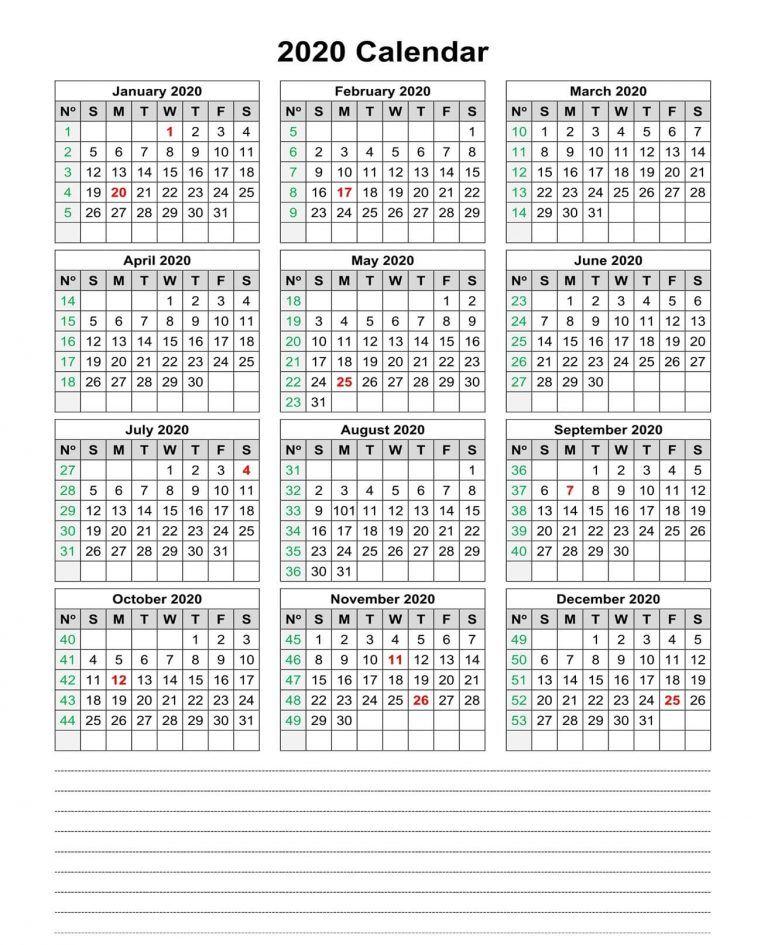 One Year Small Calendar 2020 Template Horizontal Set