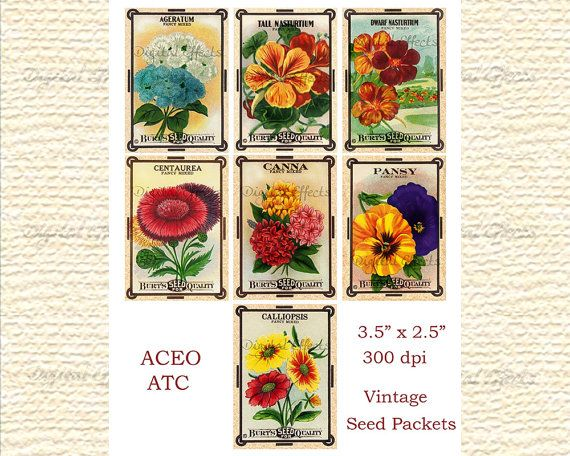 Vintage Flower Seed Packets Digital Collage Sheet Atc Cards Etsy Flower Seeds Packets Vintage Flowers Collage Sheet