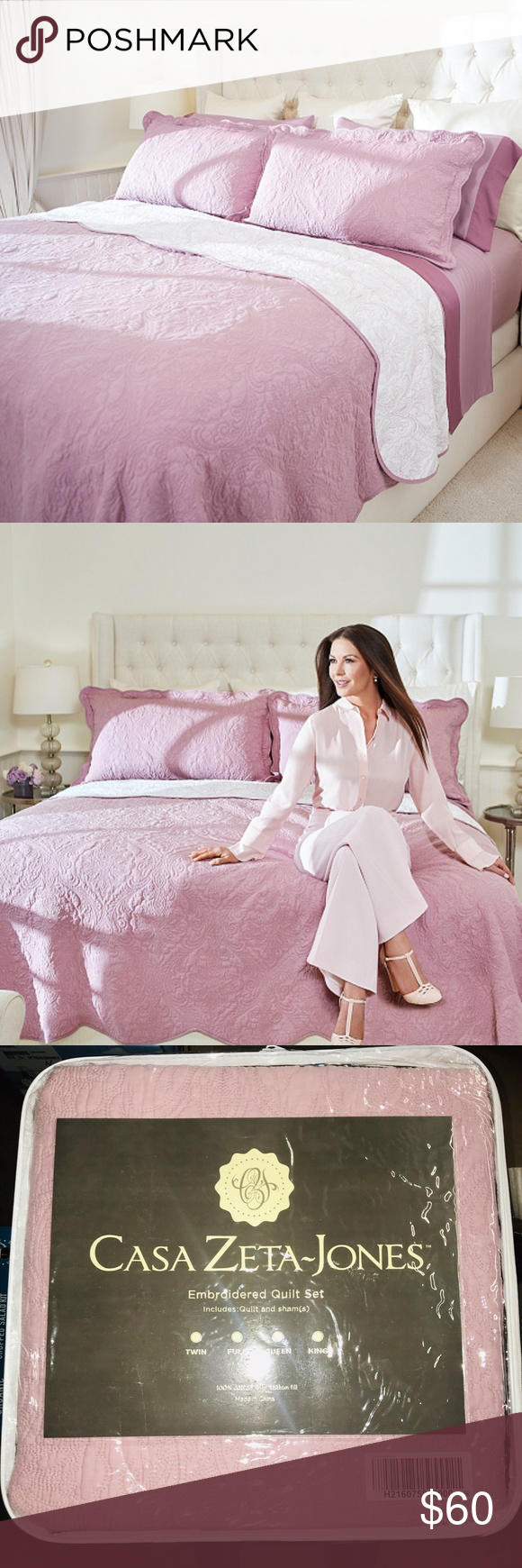 "Casa Zeta-Jones Matelasse Jacquard Bedspread with Shams KING 120/"" x 120/"""
