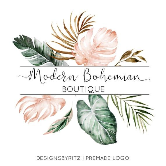 Tropical Leaf Logo, Premade Logo Design, Business Logo, Boutique Logo, Floral Logo, Watermark Logo, Website Logo Watercolor Logo, Boho Logo