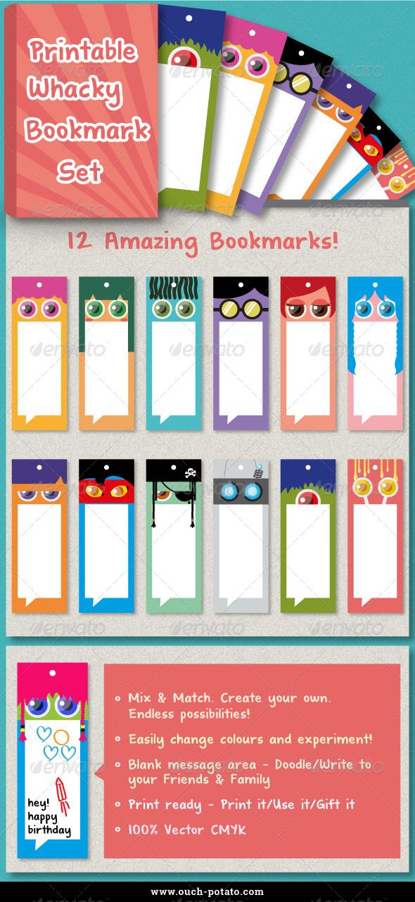 12 Whacky Bookmark Set Bookmarks, Print templates and Ecommerce logo - blank bookmark template