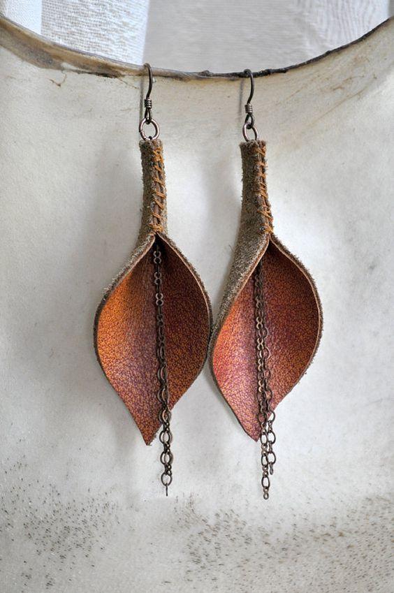 diseños atractivos diseños atractivos selección asombrosa Cuero naranja quemado lirio aretes con cadena   Polymers ...
