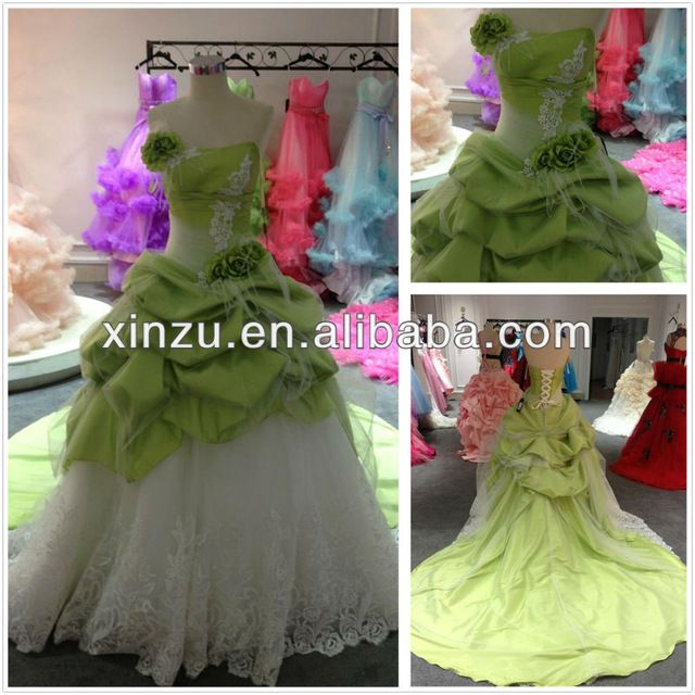 Source New Arrival Corset Bodice Ruffle Pleated Bodice Long Train Lime Green Wedding Dresses on m.alibaba.com
